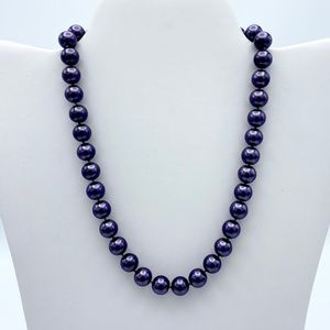 Icing Purple Faux Pearl Individual Knot Necklace